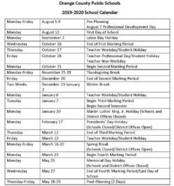 Ocps Calendar 2020 OCPS 2019 2020 Calendar   Cornerstone Announcements   Cornerstone
